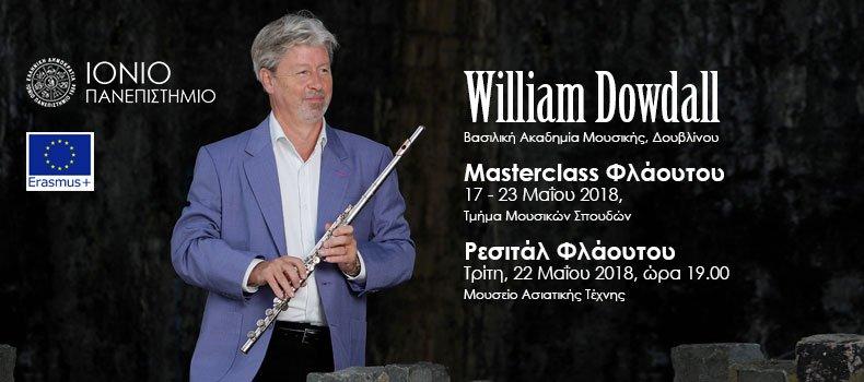 ΤΜΣ: Masterclass Φλάουτου και Ρεσιτάλ Φλάουτου από τον William Dowdall (Βασιλική Ακαδημία Μουσικής,  Δουβλίνο)